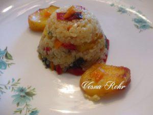 Тава ориз, компир и суви пиперки